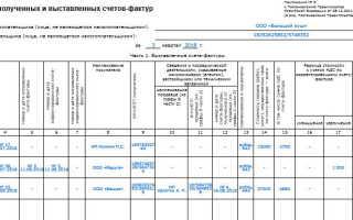 Журнал регистрации выданных счетов фактур