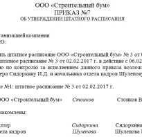 Образец приказ о введении штатного расписания
