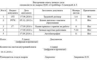 Бланк описи документов в личном деле работника