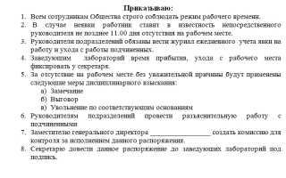 Приказ о создании комиссии по трудовой дисциплине